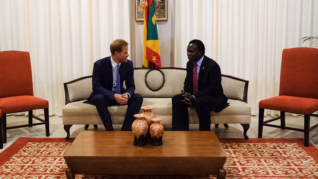 Prince Harry with the Prime Minister of Grenada