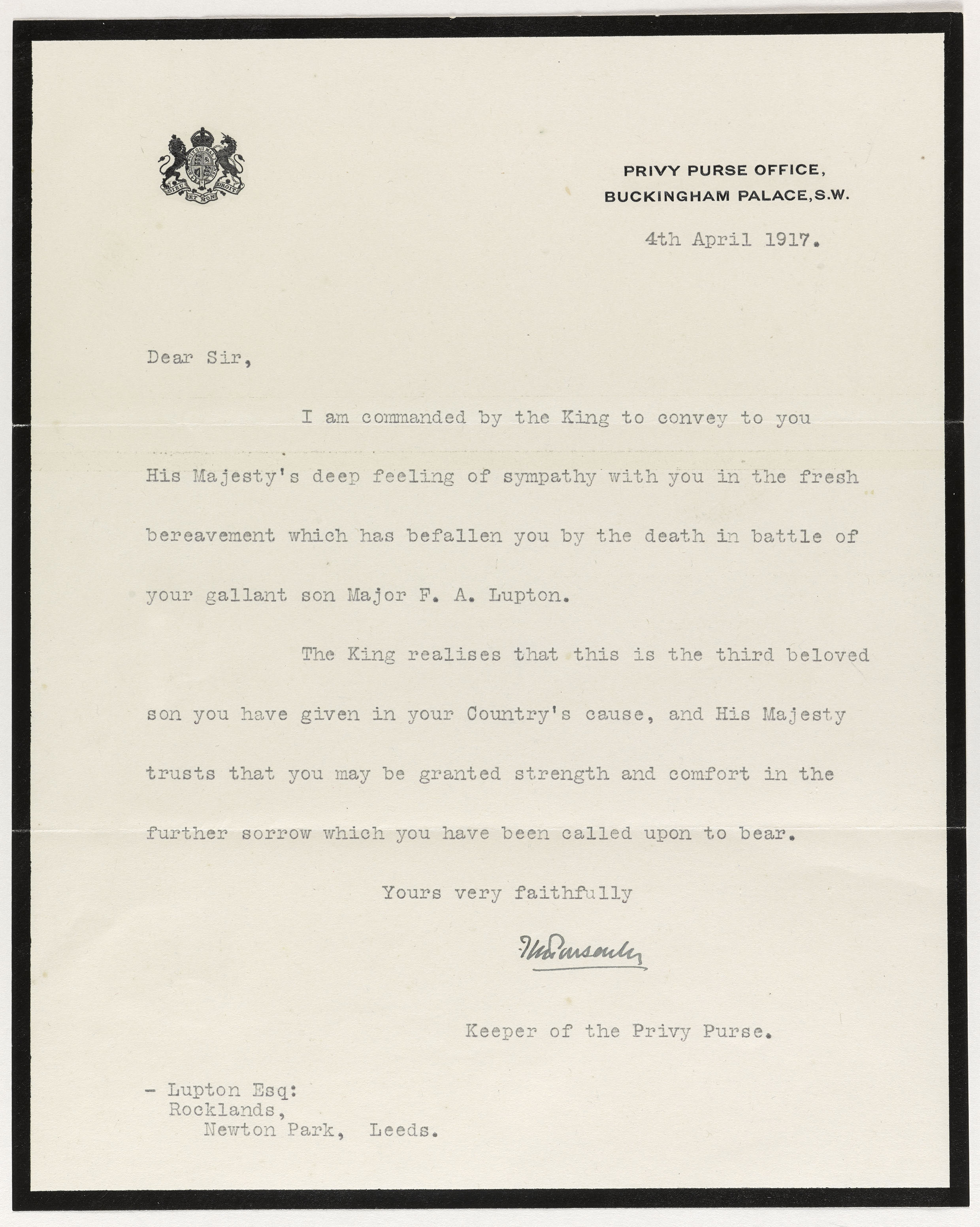 A Letter from the the Privy Purse