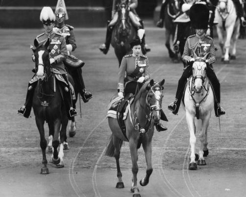 The Queen at her first Trooping of Colour