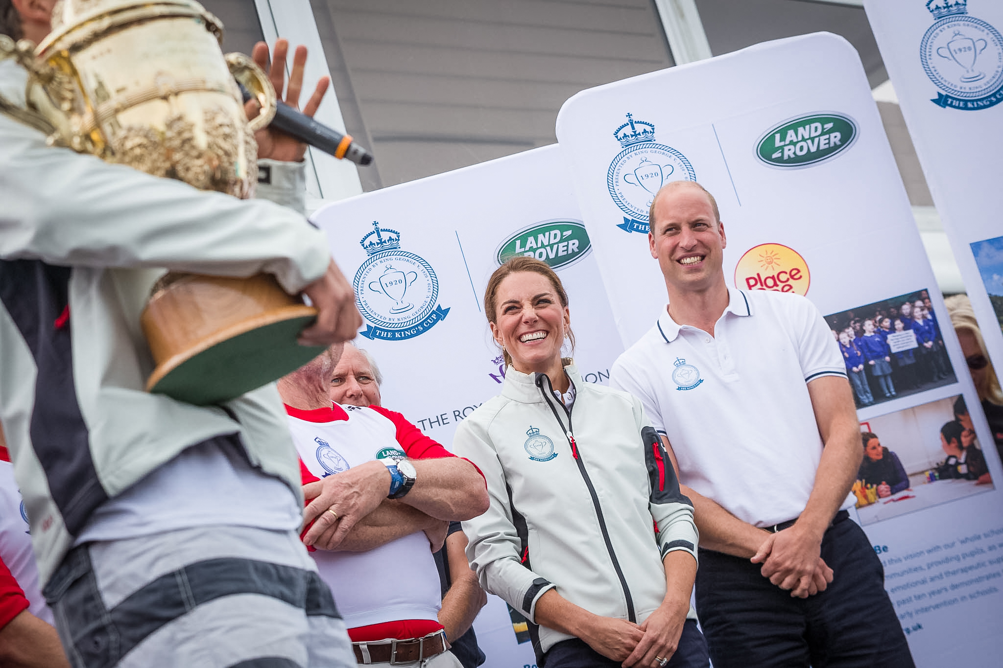 The Duke and Duchess of Cambridge watch as Bear Grylls and Tusk are awarded The King's Cup trophy.