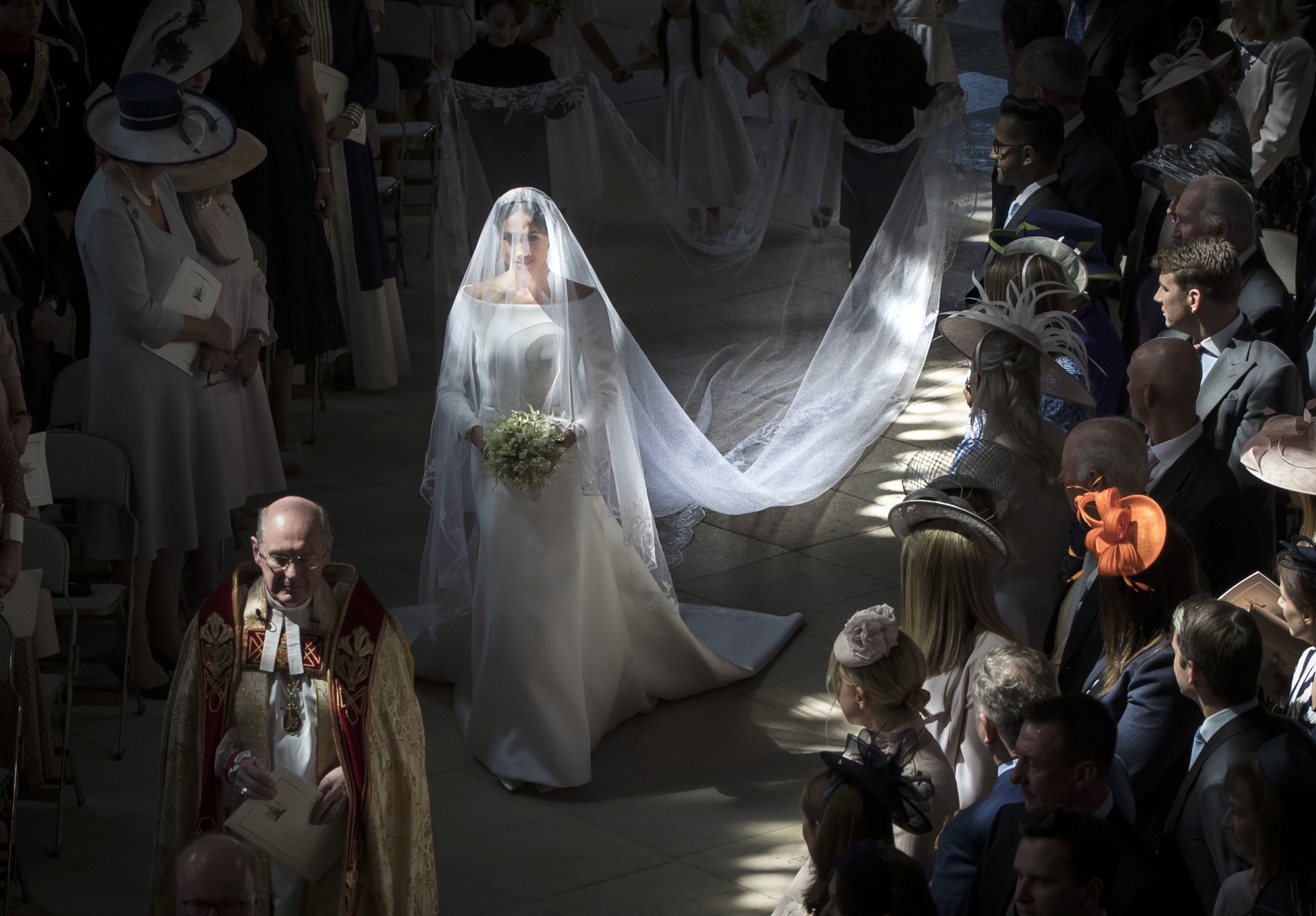 The Duchess of Sussex walks down the aisle