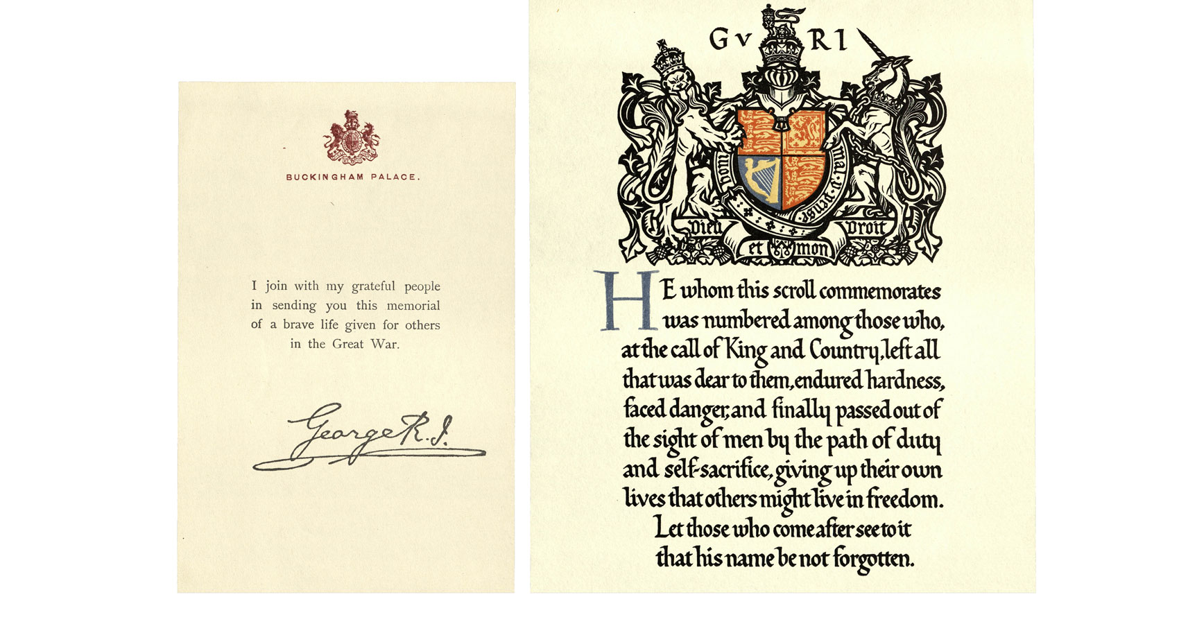 King George letter of condolence