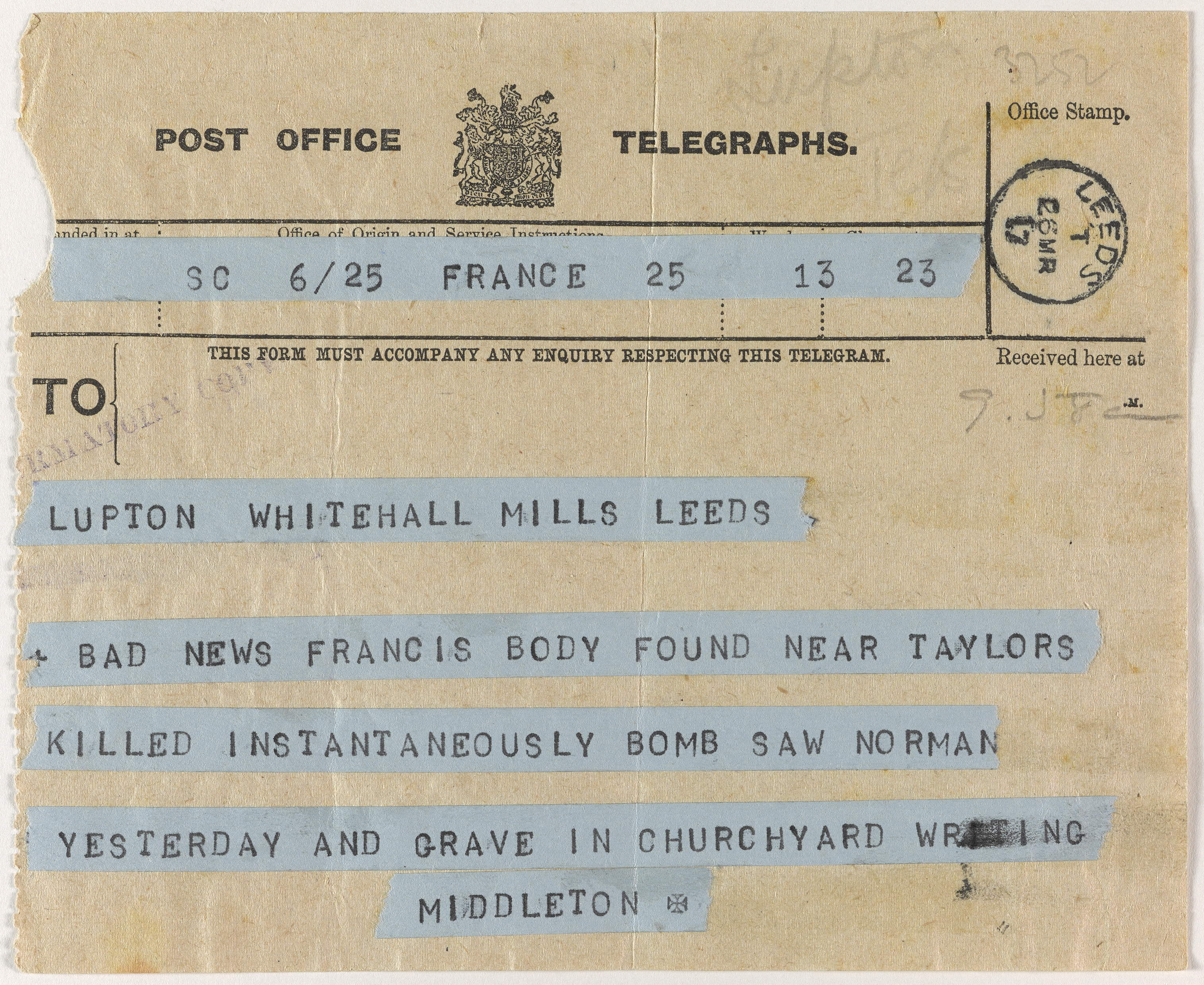 A telegram from Noel Middleton
