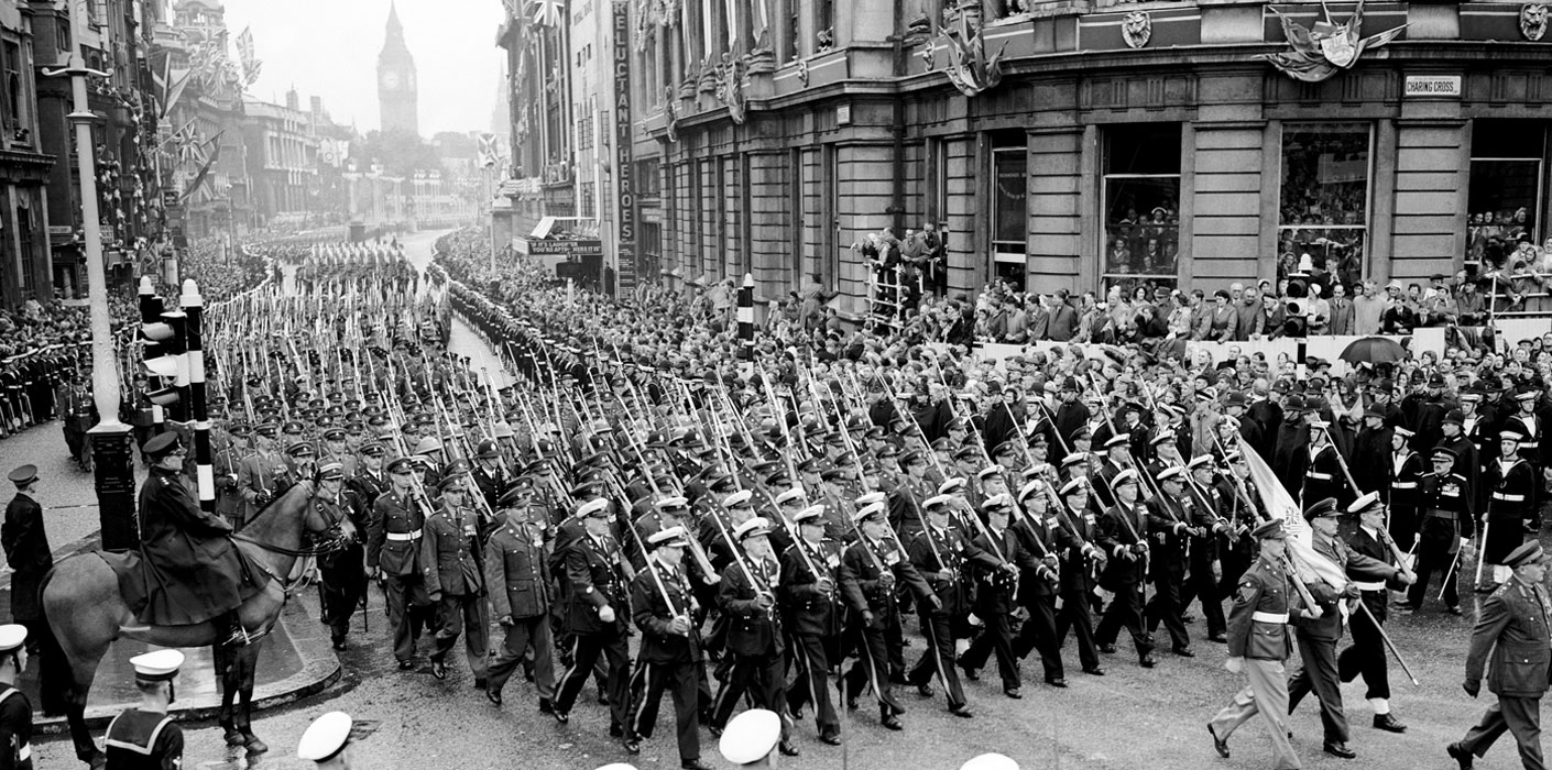The South African Contingent march in parade for The Queens Coronation in 1953