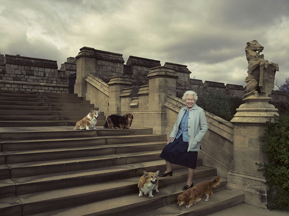 The Queen with her corgis at Windsor Castle