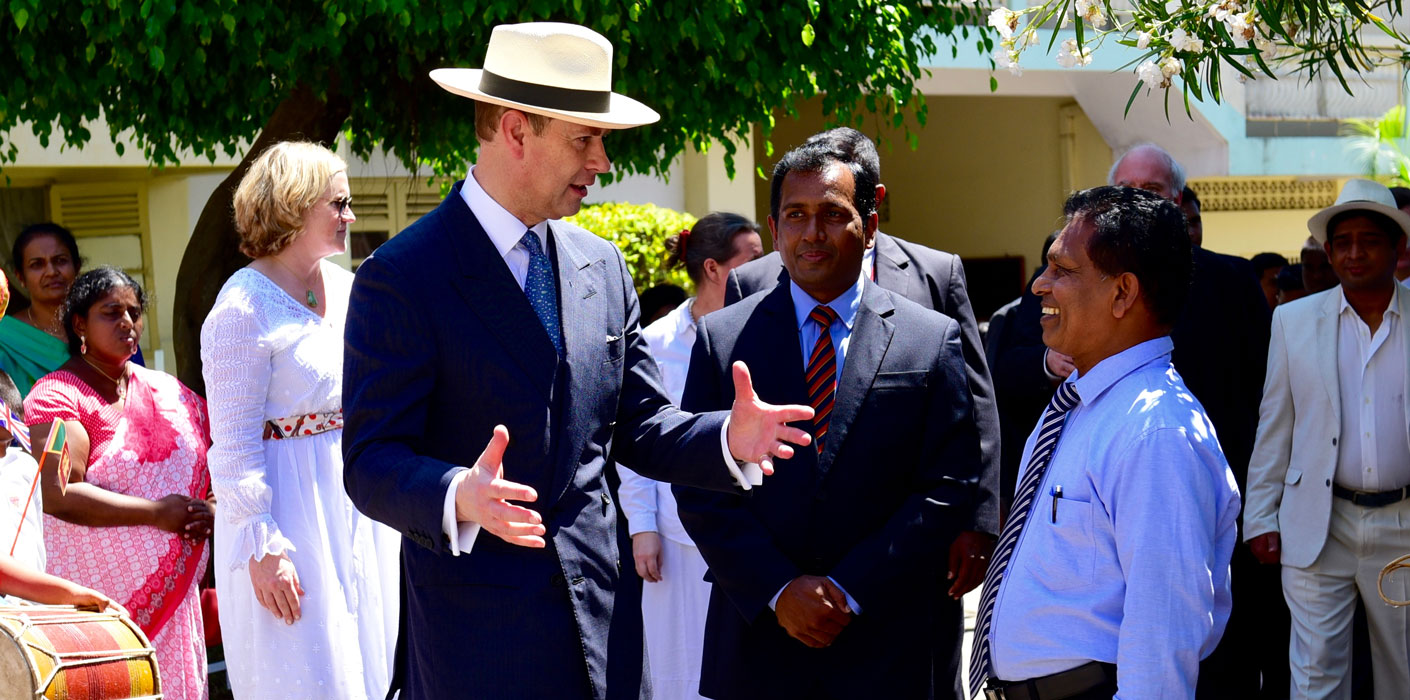 The Earl of Wessex speaks to staff at a school in sri lanka