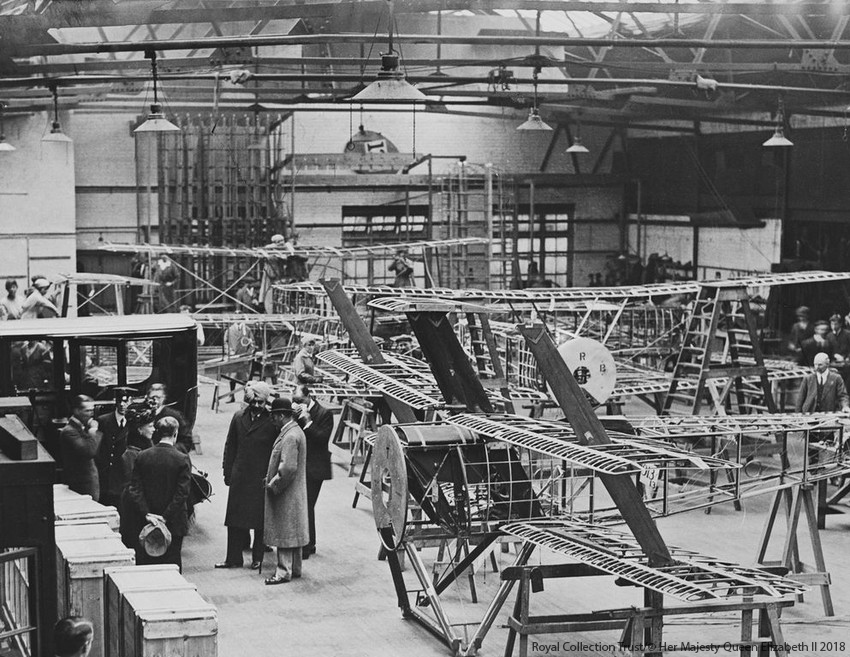George V visits a factory