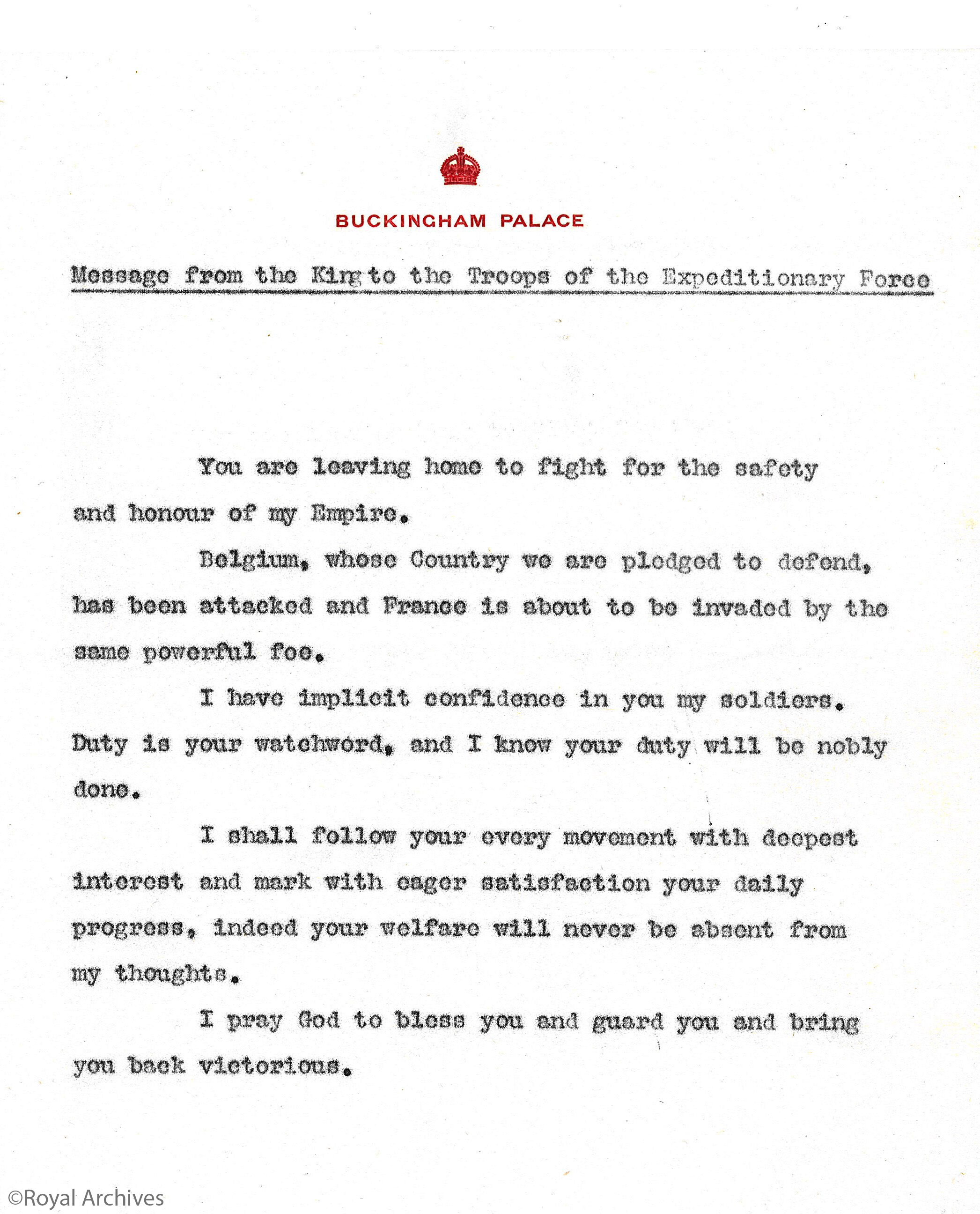 British Expeditionary Force message