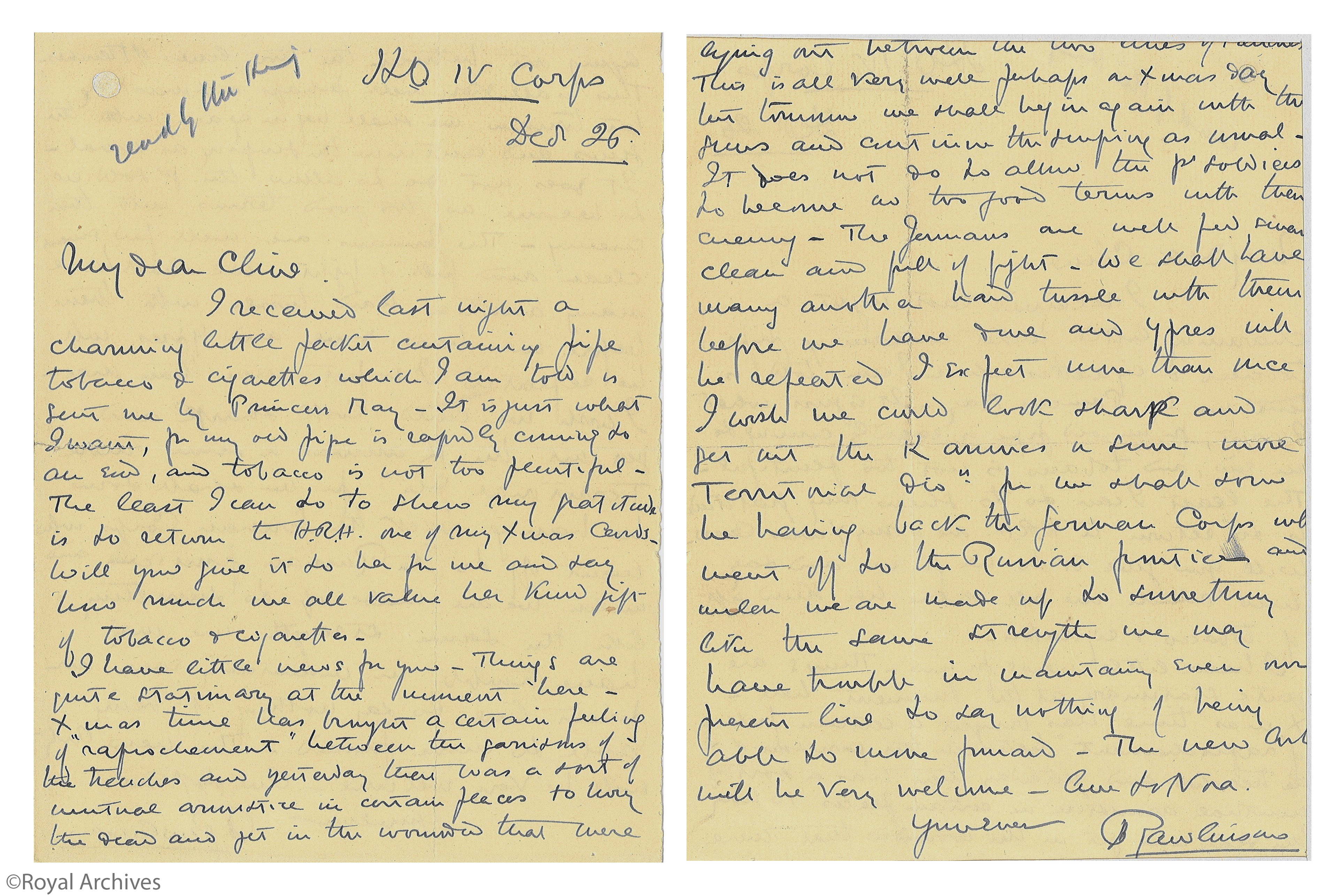 A Letter to Sir Clive Wigram