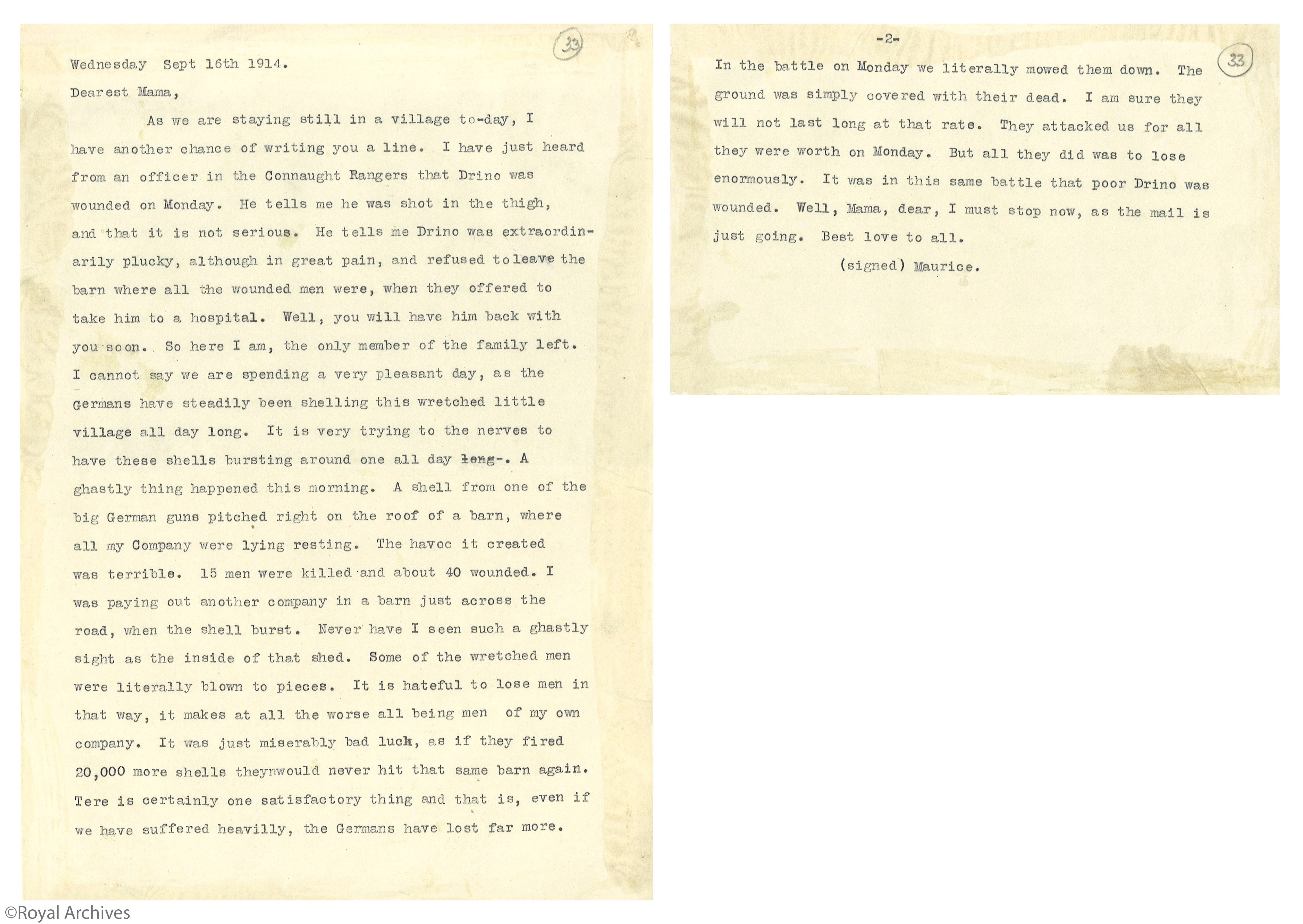 Prince Maurice letter