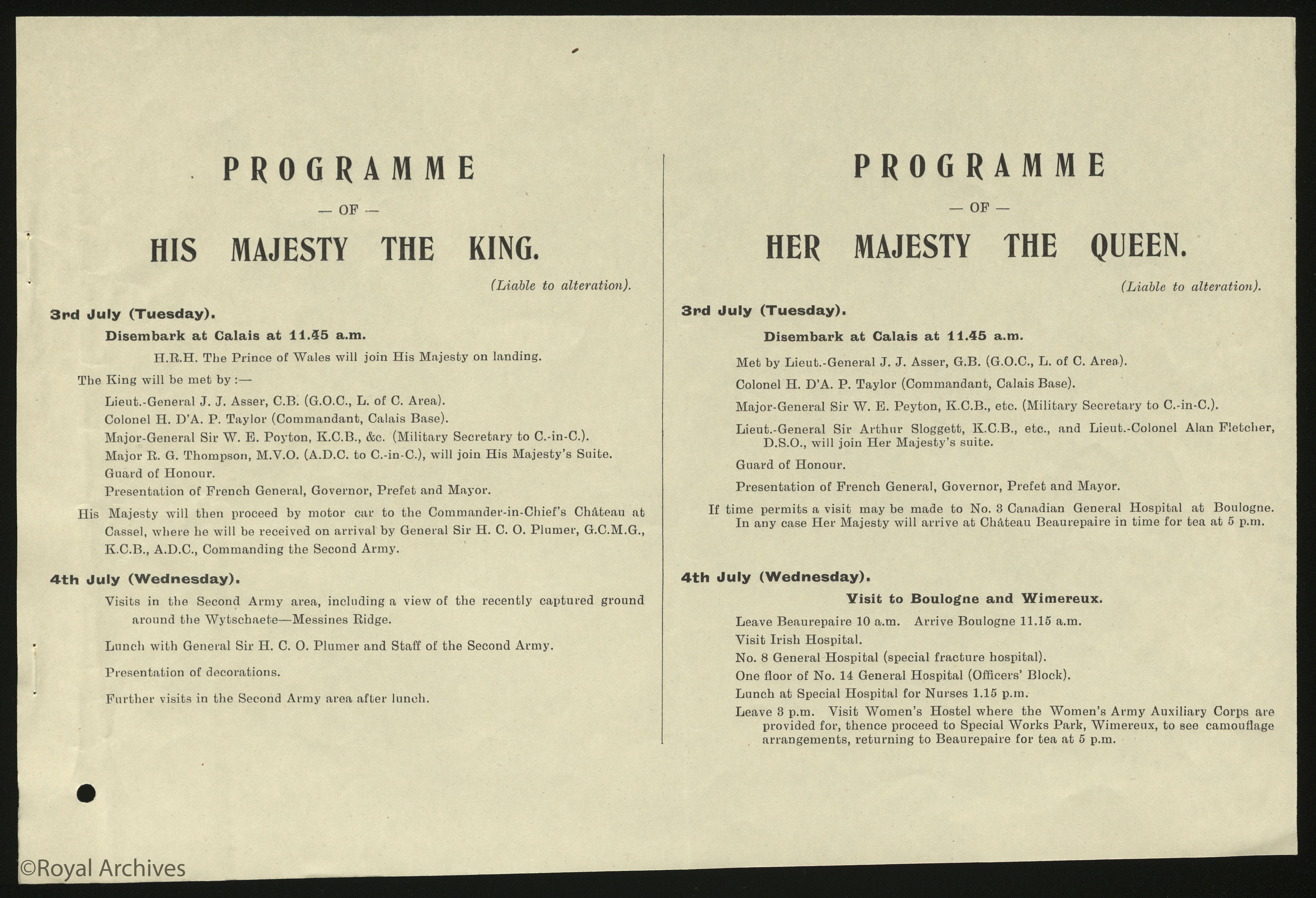 Programme for The King and Queen's Visit