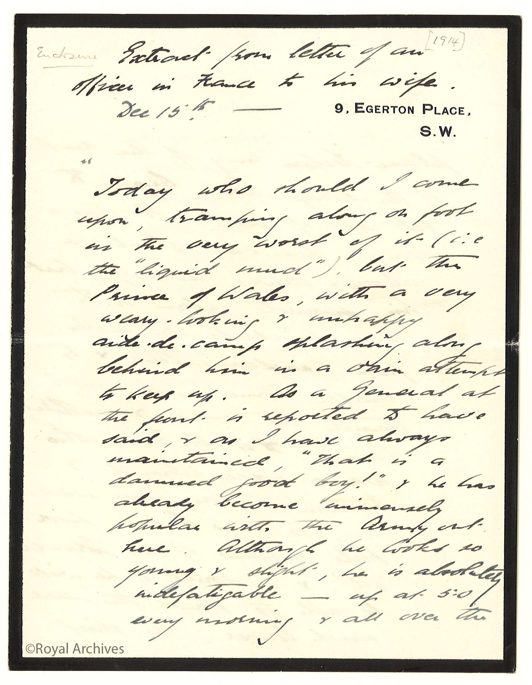 A letter about Edward, Prince of Wales