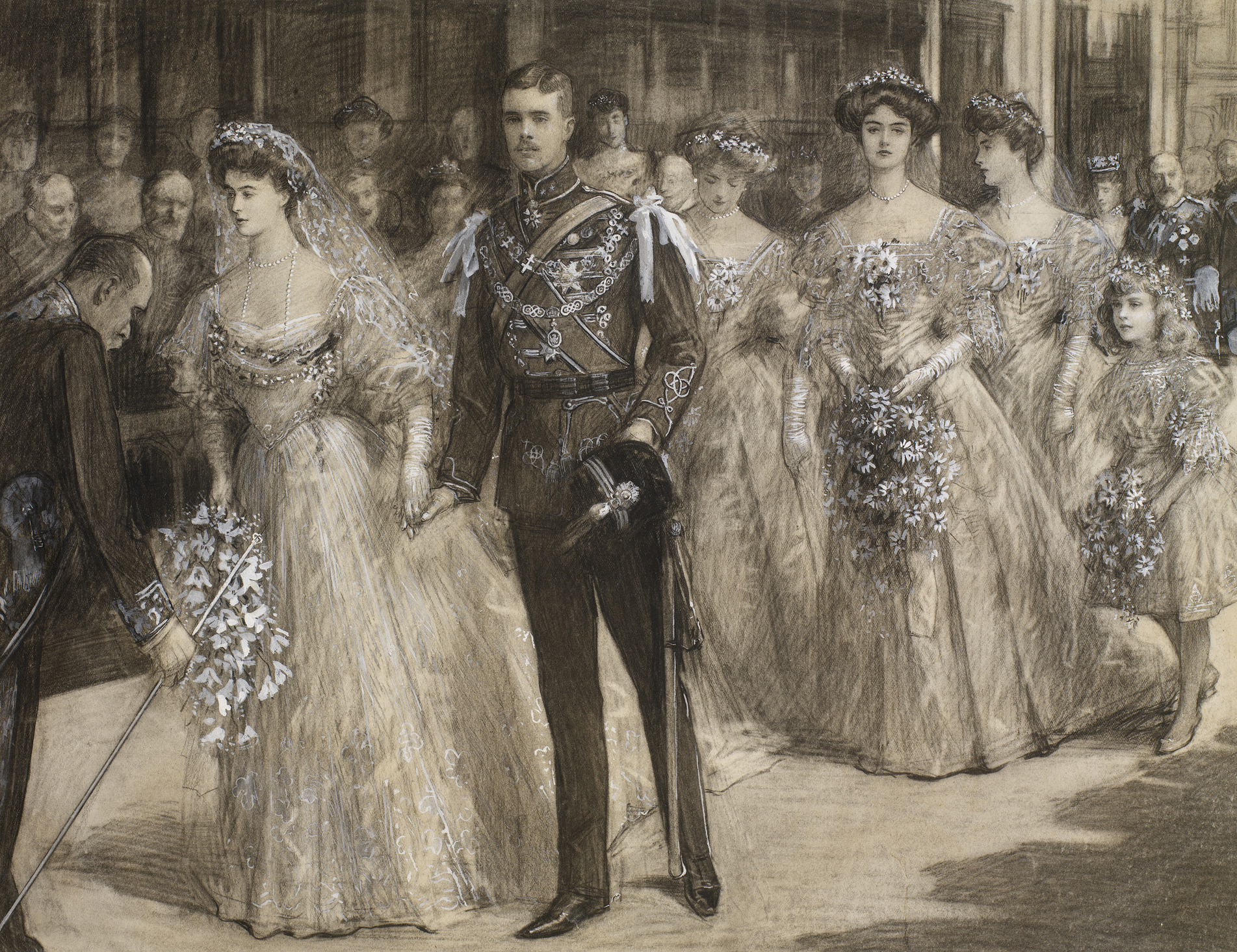 The marriage of The Princess Margaret of Connaught and The Crown Prince of Sweden and Norway at St George's Chapel on 15 June 1905. Royal Collection Trust/© Her Majesty Queen Elizabeth II 2018