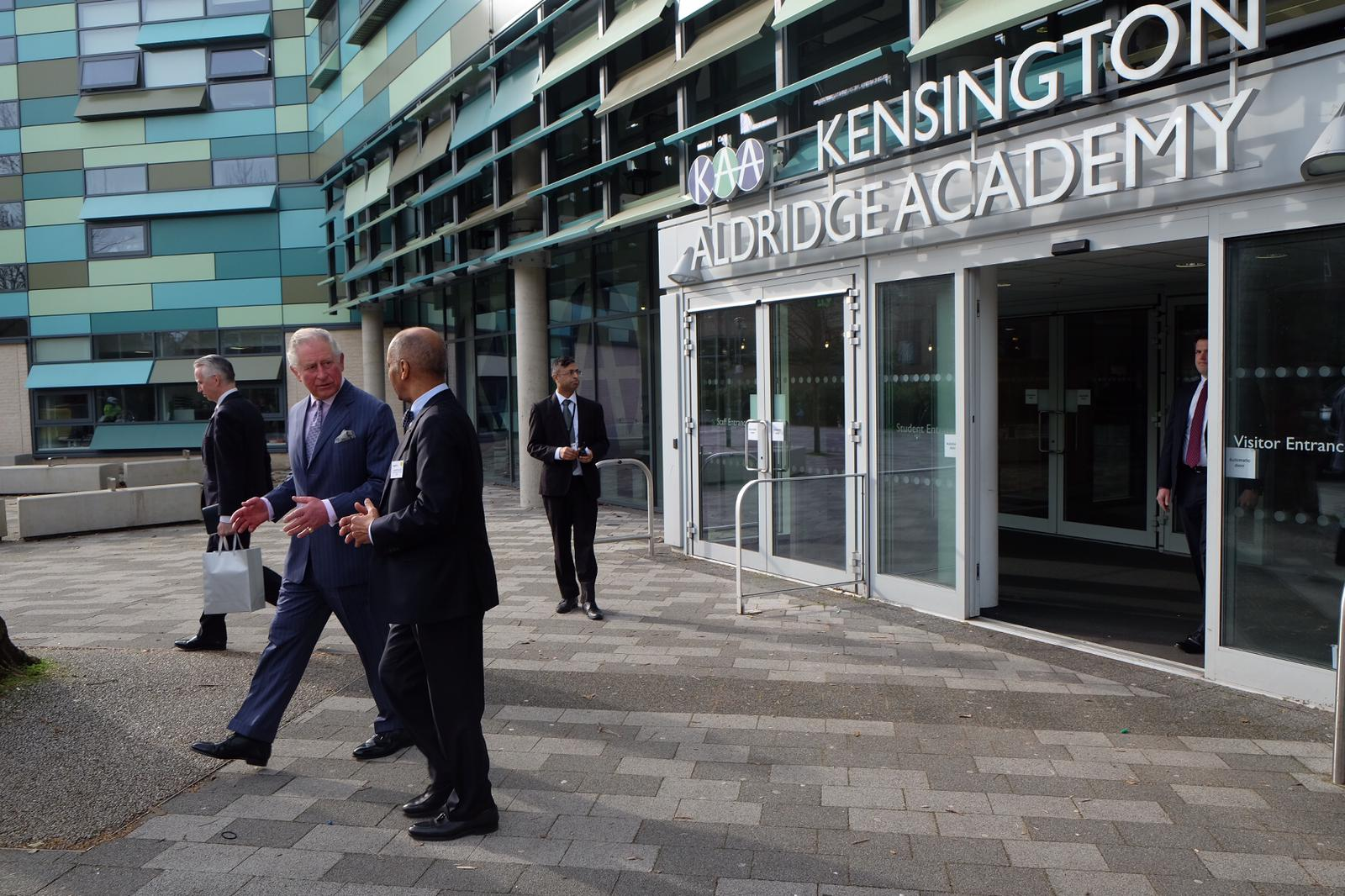 The Prince of Wales visits the Kensington Aldridge Academy in Kensington