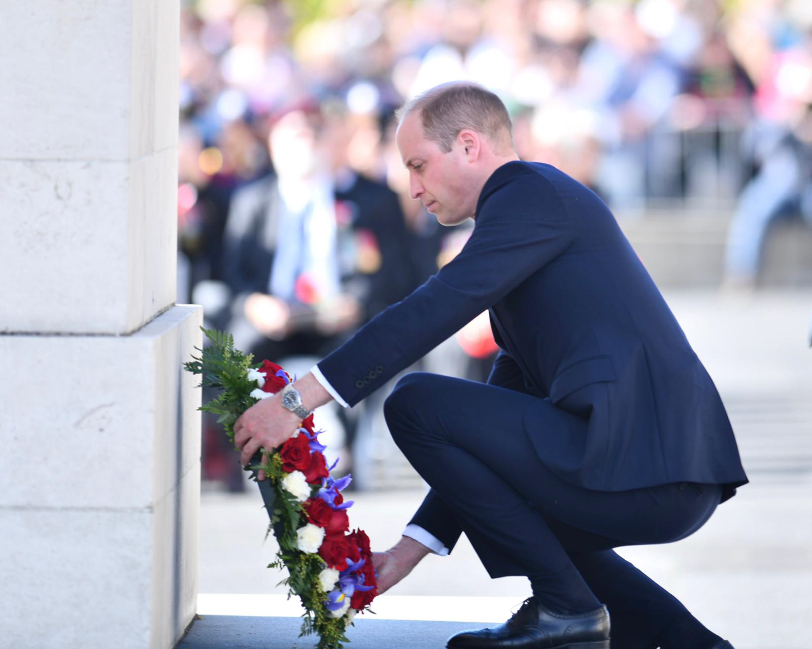 The Duke of Cambridge lays a wreath at the Anzac Day Civic Service in Auckland, New Zealand.