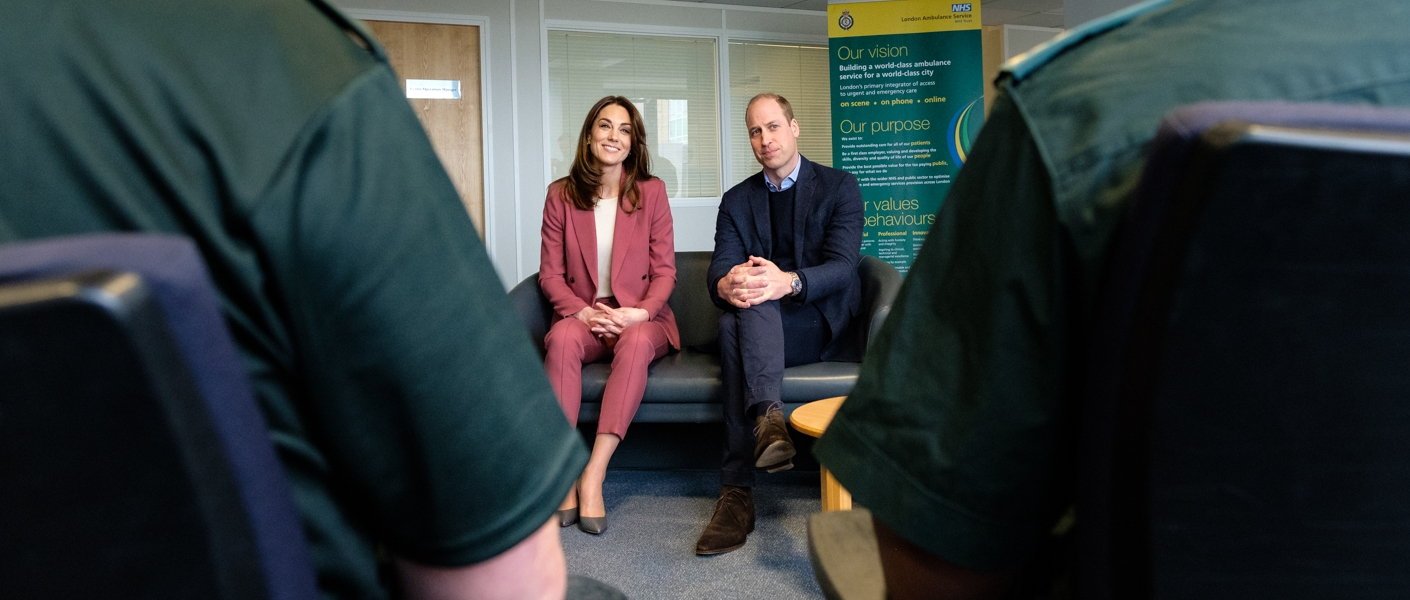The Duke and Duchess of Cambridge at the London Ambulance Centre in Croydon.
