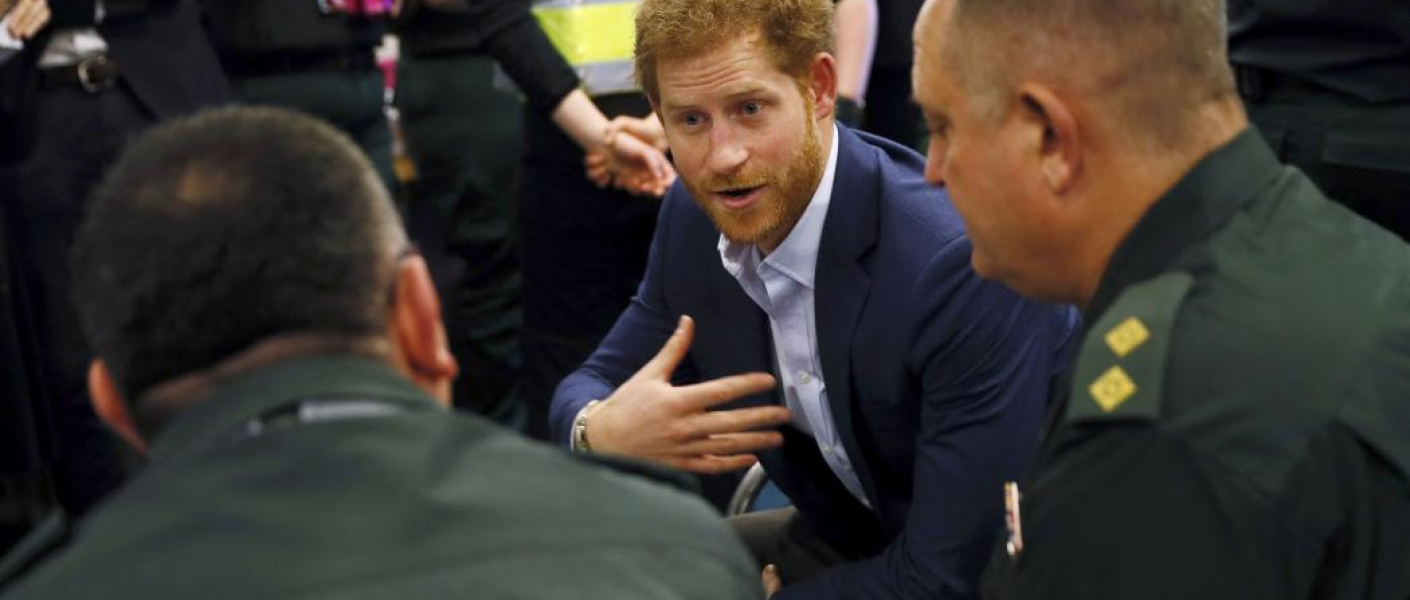 Prince Harry meets ambulance staff at the time to change event in london