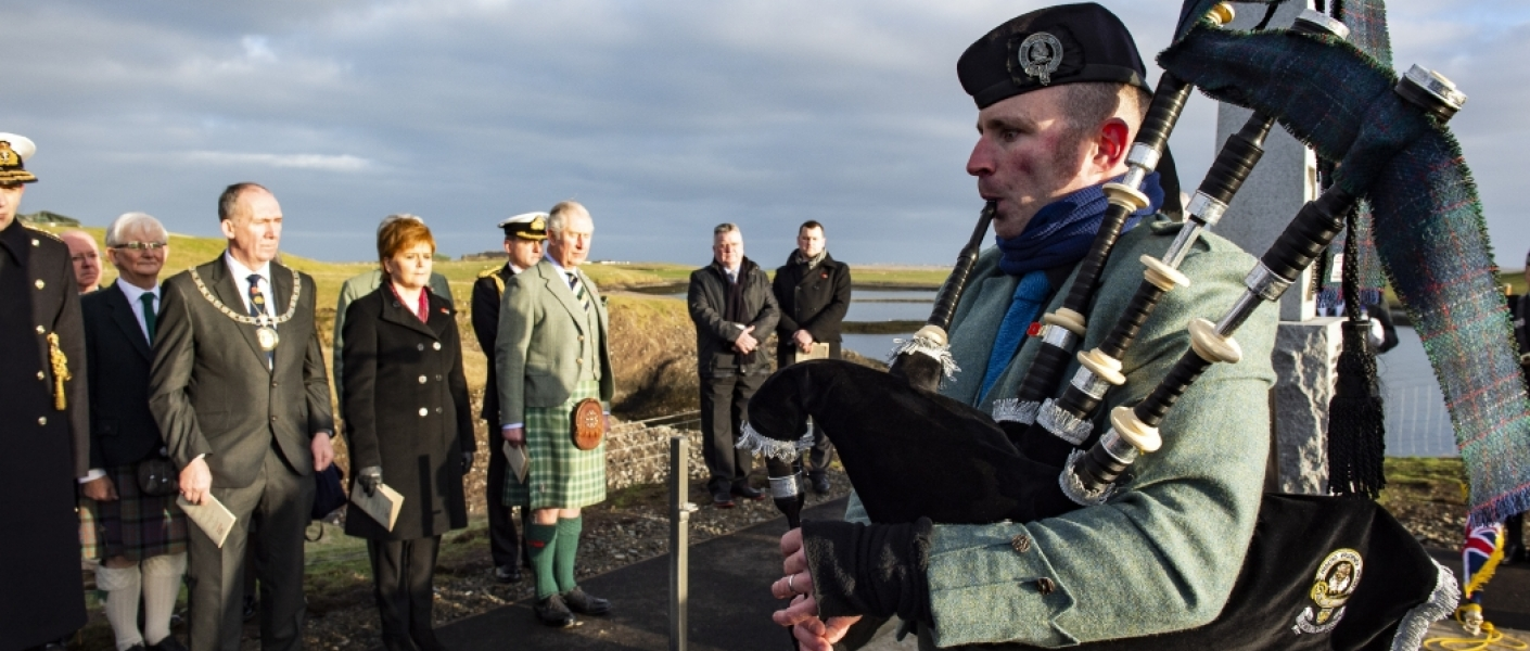 HRH The Lord of The Isles attends a Centenary Service to commemorate the loss of HMY Iolaire