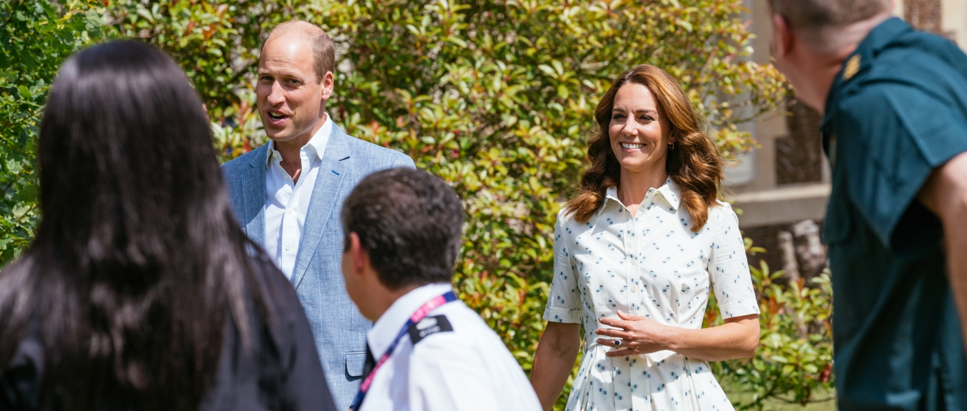 The Duke and Duchess speak to four representatives from organisations which will benefit from the fund, including two emergency responders and two mental health counsellors, earlier this the week on the Sandringham Estate.