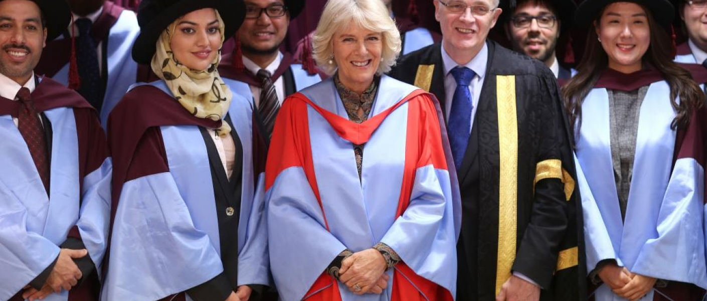The Duchess Of Cornwall at the University of Southampton with fellow graduates after she was awarded an Honorary Doctorate of Science.