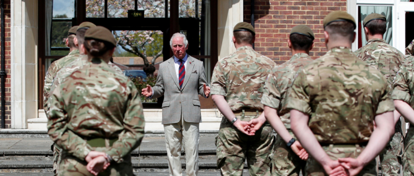 The Prince of Wales speaks to Welsh Guards