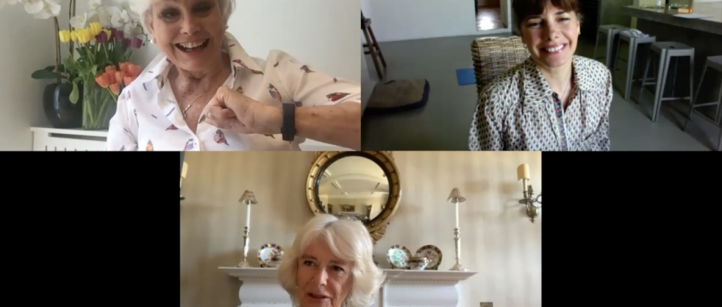 The Duchess of Cornwall on a video call with Dame Darcey Bussell and Angela Rippon