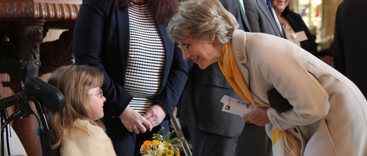 The Duchess of Gloucester, Patron of the charity since 1973, attends a Service at Peterborough Cathedral to mark the launch of Shine's Golden Anniversary.