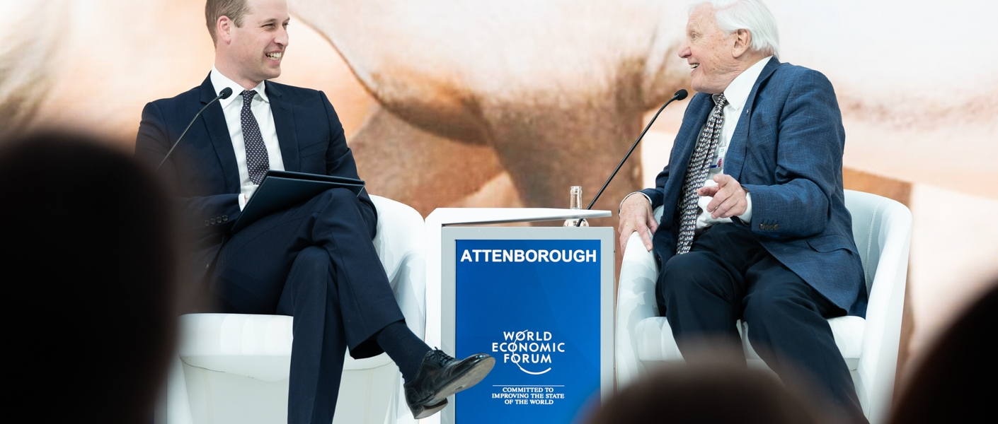The Duke of Cambridge with Sir David Attenborough at the World Economic Forum in Davos.