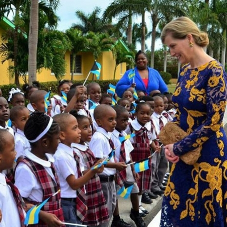 A beautiful day in the Bahamas as The Countess of Wessex meets children at Garvin Tynes Primary School in Nassau - The Earl and Countess are visiting the Bahamas in support of The Duke of Edinburgh's International Award.