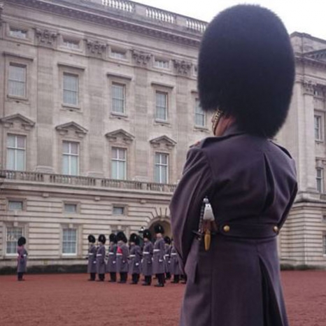 A damp day for Changing the Guard at Buckingham Palace.  #changingtheguard #buckinghampalace