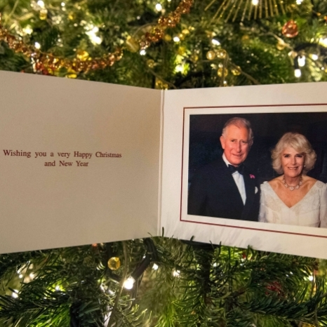 Here is this year's official Christmas card from The Prince of Wales and The Duchess of Cornwall.  The photograph was taken by @hugoburnand at Highgrove in July during the private 70th Birthday party of The Duchess of Cornwall. 📸PA