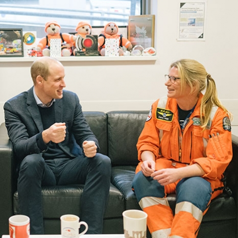 The Duke of Cambridge visits London Air Ambulance