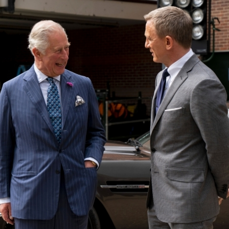 @007 Today HRH The Prince of Wales toured the #Bond25 sets @pinewoodstudios. The Prince was introduced to cast Daniel Craig, Ralph Fiennes, Naomie Harris, Lashana Lynch and director Cary Joji Fukunaga. On display were two Aston Martin cars, that will feature in the film.