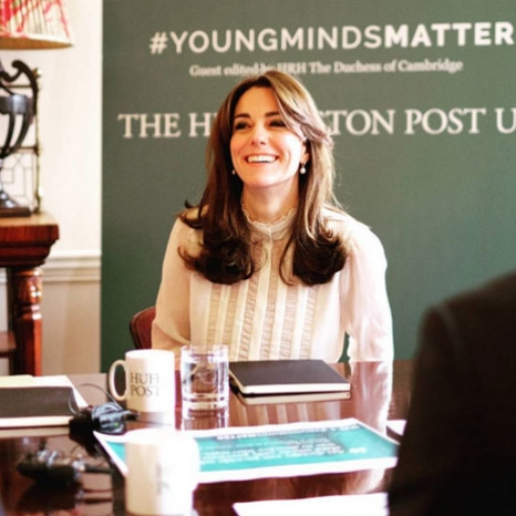 The Duchess of Cambridge discuss content for #YoungMindsMatter articles with children's mental health charity representatives and @huffpostuk reporters as she guest edits today's edition of Huffington Post UK