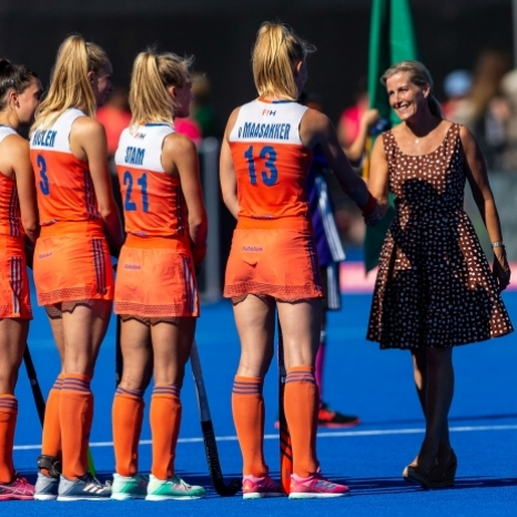Today The Countess of Wessex and Lady Louise Windsor are attending the final of the Hockey Women's World Cup in London.  Her Royal Highness takes a keen interest in the sport having been Patron of @englandhockey since 2007. The Countess and Lady Louise met @englandhockey players and volunteer