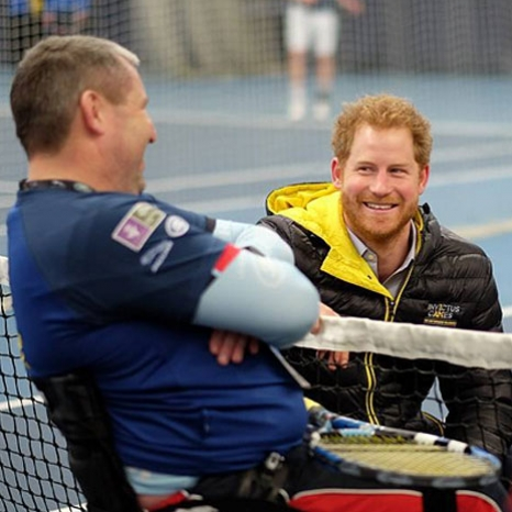 Prince Harry chats with wheelchair tennis hopefuls competing for one of 100 places in the UK @invictusorlando team.