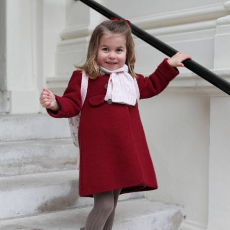 The Duke and Duchess of Cambridge are very pleased to share two photographs of Princess Charlotte at Kensington Palace this morning.  The images were taken by The Duchess shortly before Princess Charlotte left for her first day of nursery at the Willcocks Nursery School.