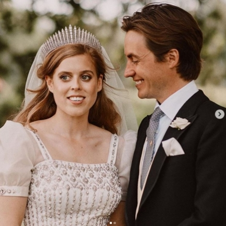 Her Royal Highness Princess Beatrice of York and Mr. Mapelli Mozzi have been touched by the warm wishes they have received since their wedding, and are delighted to share two additional photographs of their happy day. . The pictures show Princess Beatrice and Mr Mapelli Mozzi in the grounds of Royal Lodge after their wedding. . Photographs by Benjamin Wheeler.