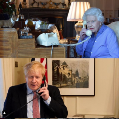 The Queen held her weekly Audience with the Prime Minister today by telephone. Her Majesty - pictured this evening at Windsor Castle - has held a weekly Audience with her Prime Minister throughout her reign.
