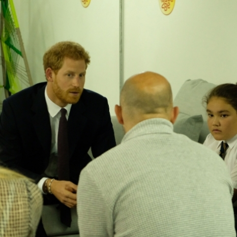 Prince Harry meets the Gomez family who escaped the Grenfell Tower fire and finds out how the Hub is supporting them.  Their Royal Highnesses also met representatives from organisations leading the emotional support response at the hub, including Child Bereavement UK, Place2Be, The Art Room and Winston's Wish.  Many of these charities have been working with local partners, schools, community groups within Kensington for some years. This hub enables them all to come together.