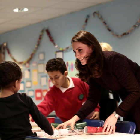Earlier today, The Duchess of Cambridge visited The Rugby Portobello Trust at its community centre in North Kensington to find out more about its work and in particular how it has supported the local community in the months following the Grenfell Tower fire. The Trust runs programmes for children and parents such as homework clubs, sporting activities, social groups and tuition. Her Royal Highness met families benefitting from the services, as well as staff and volunteers, and helped prepare for a Christmas party which is taking place there later today, as well as giving out Christmas presents.