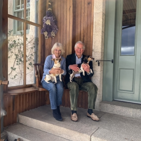 Ahead of The Prince of Wales and The Duchess of Cornwall's 15th wedding anniversary tomorrow, we are sharing this photo of Their Royal Highnesses with The Duchess's dogs Bluebell and Beth.  The photo was taken earlier today at Birkhall.